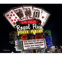 Las Vegas Poker Parlor Retro Neon Sign Photographic Print