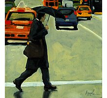 Rainy Day Business - Figurative City Oil Painting Photographic Print