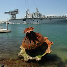 Sculpture & Aircraft Carrier, Garden Island, Sydney 2008 by muz2142