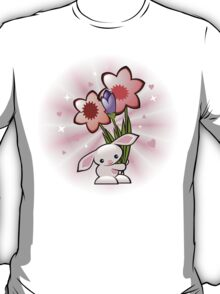 Cute Pink Bunny With Flowers T-Shirt
