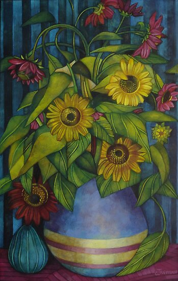 still-life with sunflowers by elisabetta trevisan