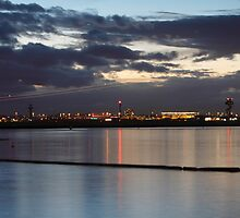 Sydney Airport Dusk Takeoff by Mark  Lucey