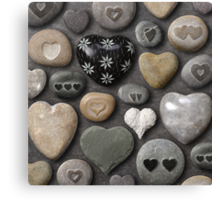Heart shaped stones and rocks Canvas Print
