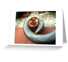 Rusty nail on wrought iron Greeting Card