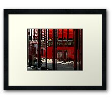 How the Trolley Sees the Bus Framed Print