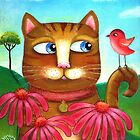 Cat in the Echinacea  by Lana Wynne