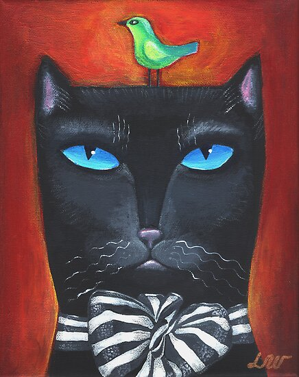 &quot;Bow Cat&quot; - Original Folk Art Painting  by Lana Wynne