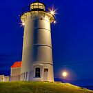 Moonrise, Nobska Light by Michael  Petrizzo