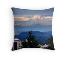 Mt. Hood and Portland Throw Pillow
