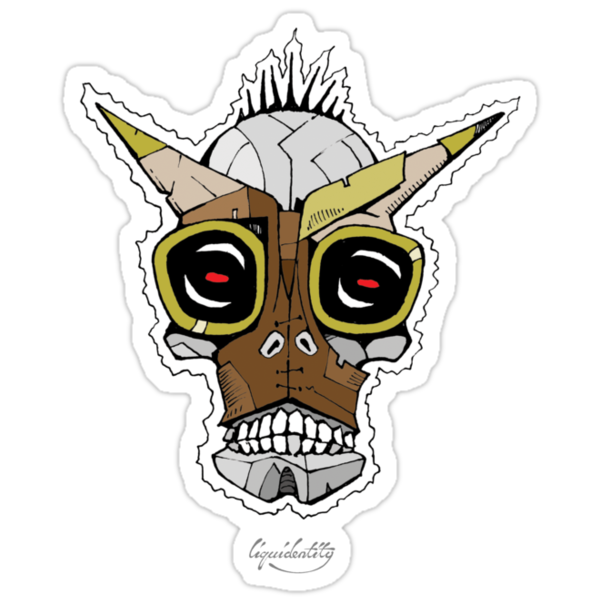 Horned Goggle Skull by liquidentity