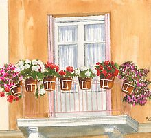 Grecian Balcony by Marsha Elliott