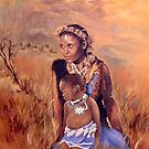 Zulu sangoma & child by Santamaria