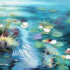 Water lilies, Koi fish pond by Santamaria