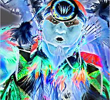 Pow Wow Dancer in Blue by Linda Davidson