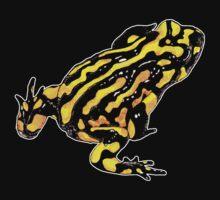 Corroboree frog tee black on black by Laura Grogan