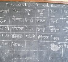 Date Sheet for Annual Exam on School House Wall by Angie Spicer