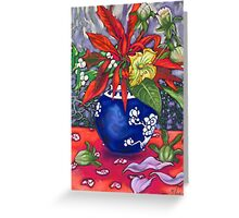 poincettia & ginger jar Greeting Card