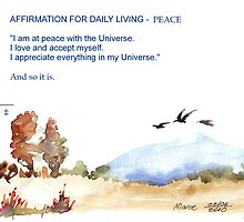 Affirmation for Daily Living - Peace by Maree  Clarkson