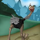 "Birthday Card - Ostrich ""No way I'm out of here"" by Moonlake"