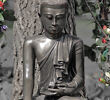 Quiet Buddha with Flowers, Hidden Gardens, Tramway Theatre, Glasgow, Scotland, UK, Europe by simpsonvisuals