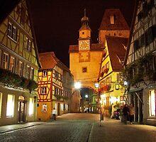 Rothenburg  - Markusturm by Night #1 by David J Dionne