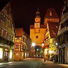 Rothenburg  - Markusturm by Night #2 by David J Dionne