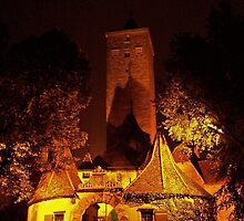 Rothenburg - Burgtor by Night #2 by David J Dionne