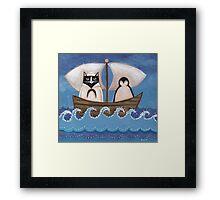 Sailor Cat & Penguin Framed Print