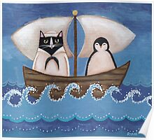 Sailor Cat & Penguin Poster