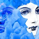 Echoed Face and Roses in Blue by Ivana Redwine