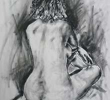 sitting nude back view by Mick Kupresanin
