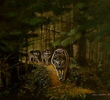 Wolves marching pines by alan carlson