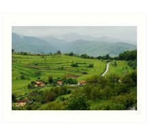 Village on the road, Romania Art Print