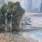 Black Duck over Gravelly Beach Dam  by Pieter  Zaadstra