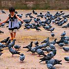 Pigeon Chasing in Durbar Square, Kathmandu by Maggie Woods