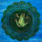 Frog On Doily Pad (Drawing Day 2010) by Carrie Jackson