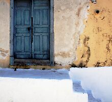 Blue Door And White Stairs, Greek Islands by Josh Wentz