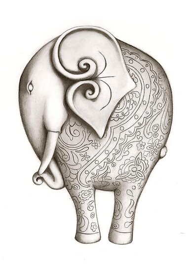 Engraved Elephant (Charcoal) by Jo Holden
