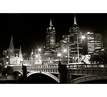 Melbourne at Night - Southbank Promenade Photographic Print