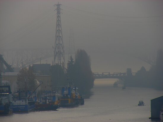Ship Canal Draped in Fog by Honario