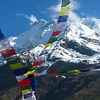 Prayer Flags Fly High in the Annapurnas by Maggie Woods