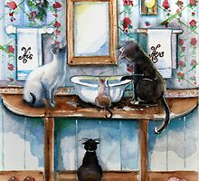 Cats in my Powder Room by Robin Pushe'e