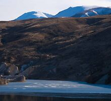 St Bathans Lake and Hilltops Beyond by trevallyphotos
