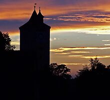 Rothenburg  - Burgtor at Dusk #3 by David J Dionne