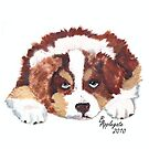 Puppy Breath #2 ~ Australian Shepherd Puppy ~ Oil Painting by Barbara Applegate