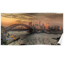 Painted Skies - Sydney Harbour, Sydney Australia(28 Exposure HDR Panoramic) - The HDR Experience Poster