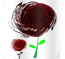 Black-red abstract flowers Poster