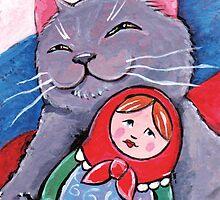 Russian Blue and Babushka by Lisa Marie Robinson