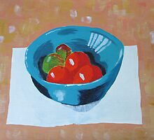 Turquoise fruit bowl by Sue Brown