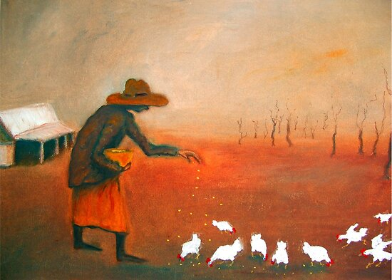 &quot;Feeding the chooks&quot; by Mary Taylor